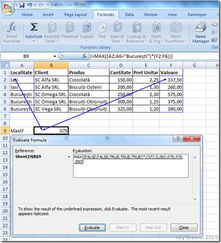 MaxIF în Excel - Evaluare formula