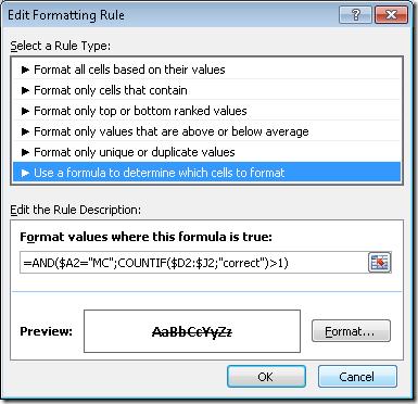 Formatare condițională cu AND()