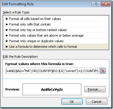 Formatare condițională cu AND() și OR()