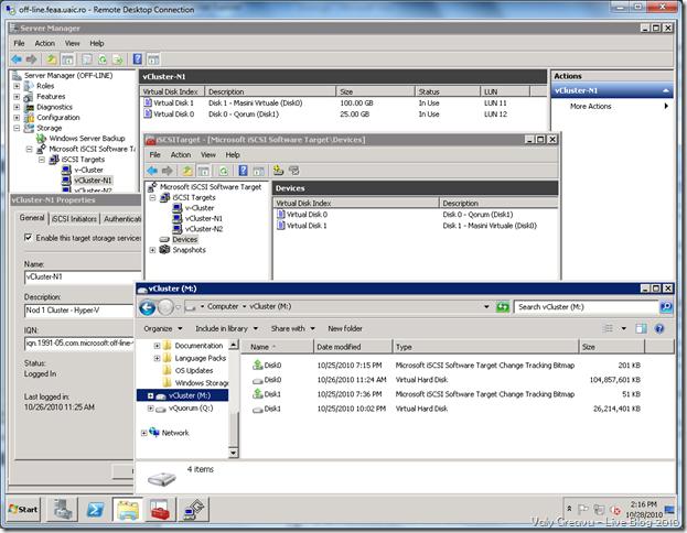 Configurarile de iSCSI Target