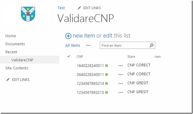 Validare CNP Lista SharePoint 2013